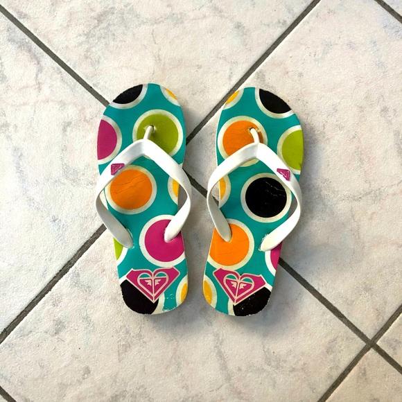 Roxy polka dot flip-flops